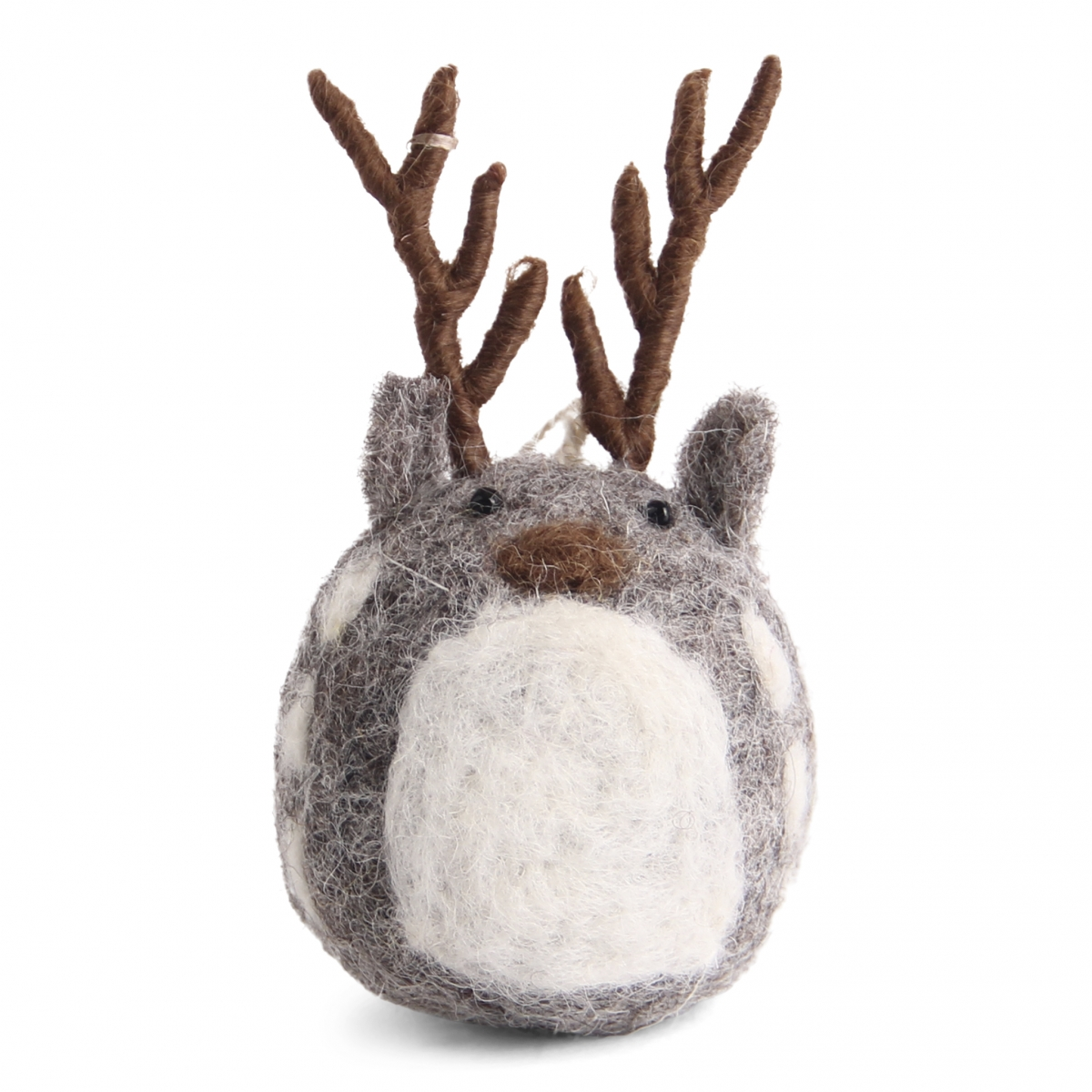 Petit renne en laine feutrée gris à suspendre 5cm de hauteur
