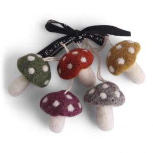 Lot de 5 petits champignons en laine feutrée (Gris, vert, rouge, moutarde et violine) à suspendre