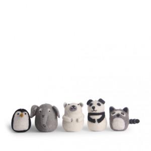 Set de 5 adorables animaux en laine feutrée à suspendre