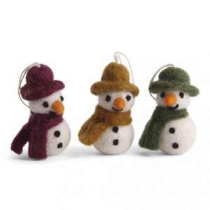 Lot de 3 bonhommes de neige en laine feutrée (Violine, moutarde et vert)