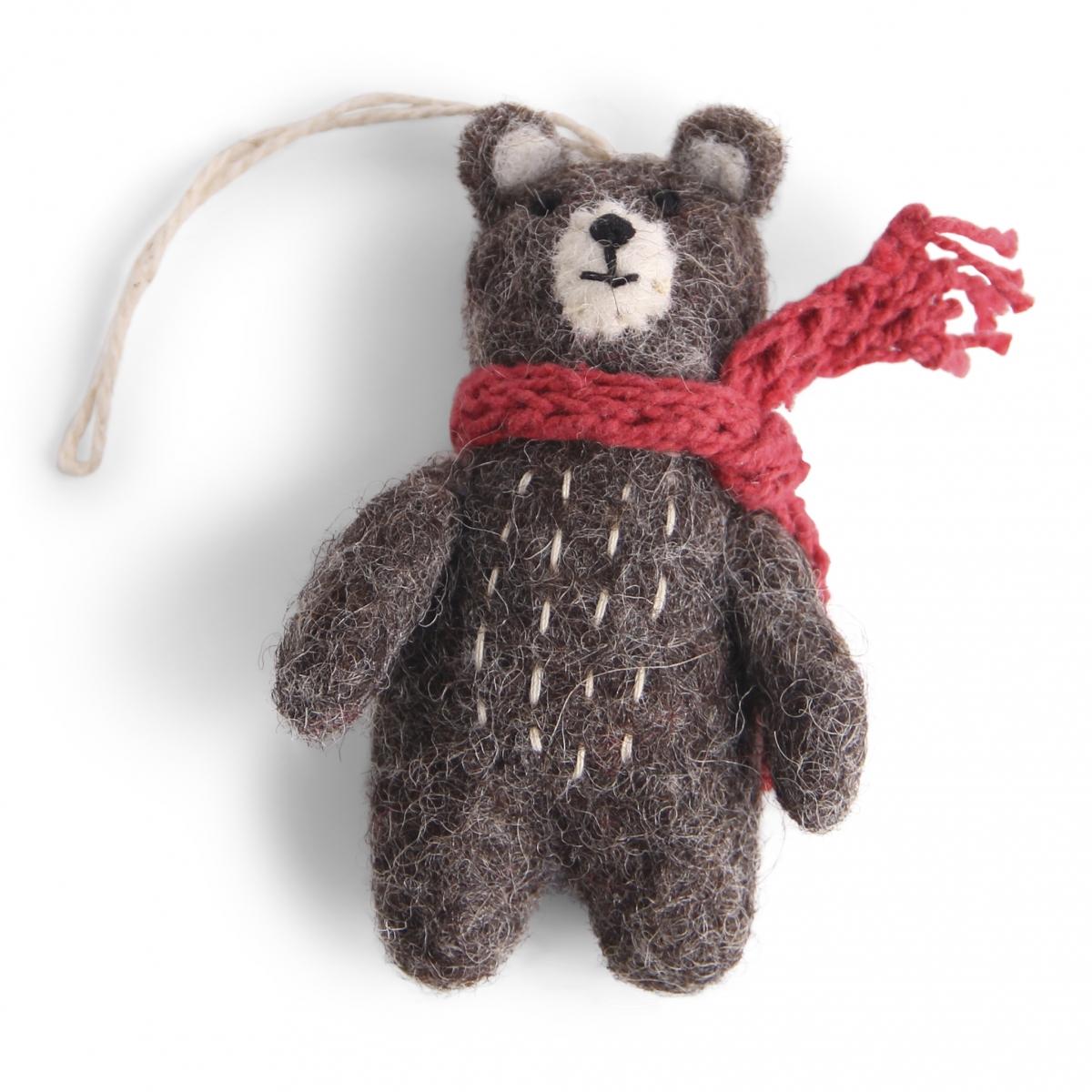 Petit ours gris en laine feutrée à suspendre écharpe rouge