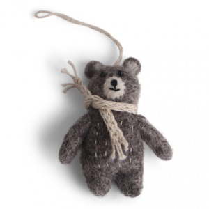 Petit ours gris en laine feutrée à suspendre écharpe beige