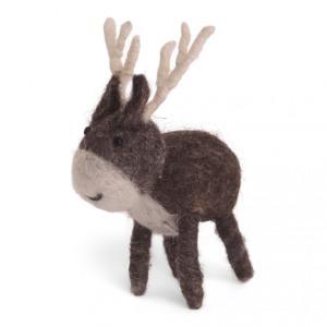 Petit renne gris en laine feutrée à poser