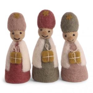 Set des 3 rois mages en laine feutrée à poser