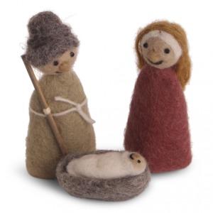 Set Marie, Joseph, jésus en laine feutrée à poser