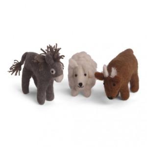 Set de 3 animaux crèche en laine feutrée à poser. Âne, Mouton et bœuf.