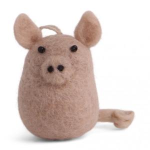 Petit cochon rose en laine feutrée à suspendre