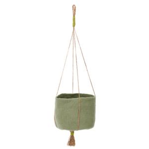 Panier kangourou Muskhane Coloris vert tendre Diamètre 33cm/ H 27cm Composition feutre et chanvre