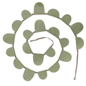 Guirlande Muskhane en laine feutrée drapeaux ronds, longueur 2m Coloris vert tendre
