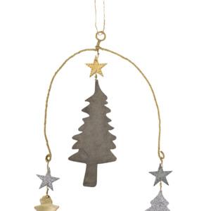 Mobile de Noël en métal doré et zinc Walther Hauteur totale : 32cm
