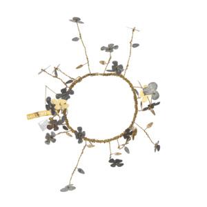 Petite couronne en métal avec fleurs dorée et zinc Walther Diamètre int. 12cm Épaisseur 10cm