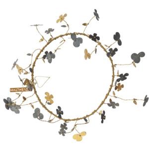 Grande couronne en métal avec fleurs dorées et zinc Walther Diamètre int. 22cm Epaisseur 10cm