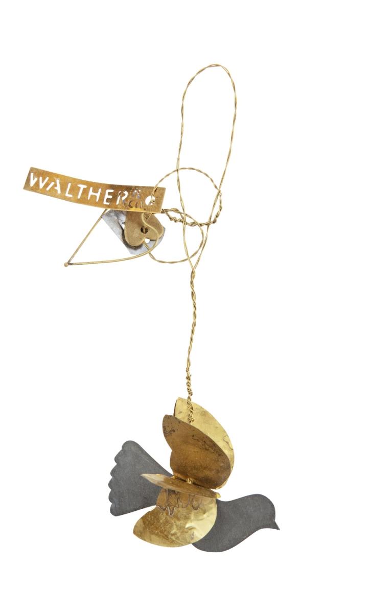 Petite suspension oiseau corps en zinc et ailes dorées Walter Hauteur totale 16cm