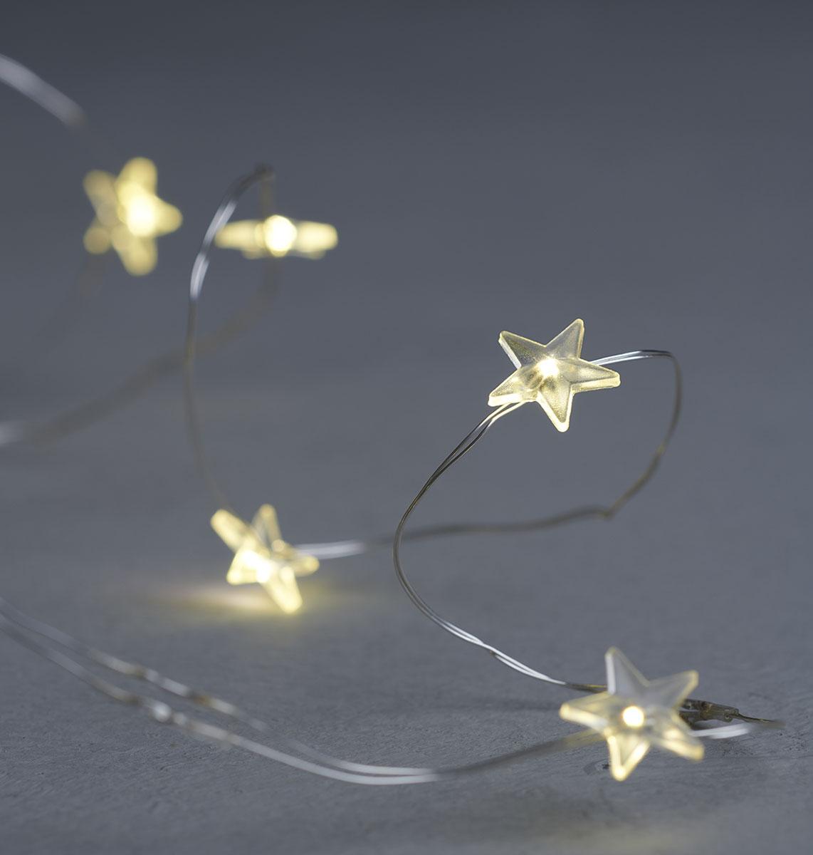 Guirlande lumineuse étoiles indoor Sirius Trille Fil argent 20 leds warm white