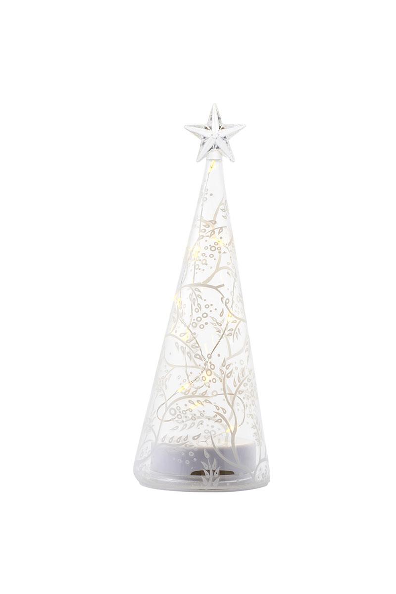 Sapin globe en verre Sirius avec motifs feuillages H 22cm 68075_CozyTree
