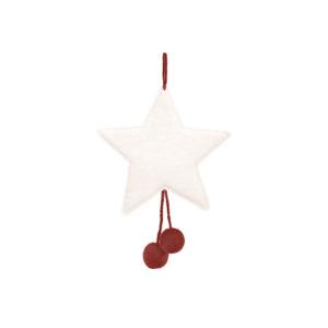 Suspension étoile pompons Muskhane en laine feutrée Coloris naturel/ pollen H 16cm