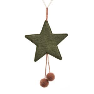 Suspension étoile pompons Muskhane en laine feutrée Coloris gris minéral H 16cm