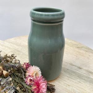Flacon en grès, Jars céramistes, Gris oxyde, Diamètre 8,5cm, H: 15cm, Service Cantine