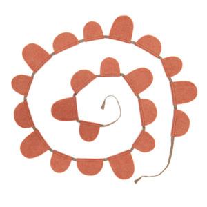 Guirlande Muskhane en laine feutrée drapeaux ronds, longueur 2m Coloris corail
