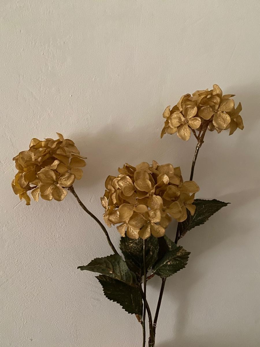 Branche d'hortensia synthétique or - Côté Table - Longueur de la tige 80cm