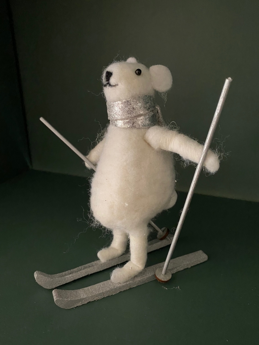 Ours blanc sur ski - Côté Table - H 15cm/12cm