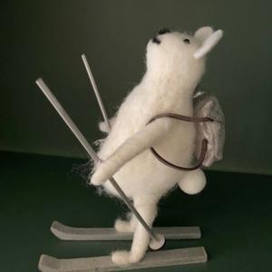 Ours blanc sur ski - Côté Table - H 16cm/12cm