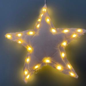 Petite étoile en tissus avec guirlande lumineuse à l'intérieur - Côté Table - H 30cm