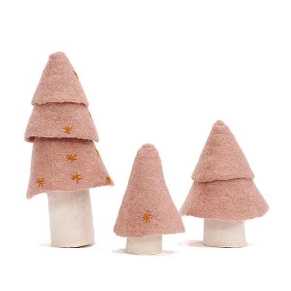 Set de 3 sapins Muskhane en laine feutrée Coloris rose quartz Taille : 11/ 13/ 21cm