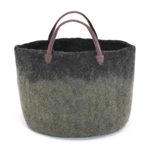 Cabas bicolore laine feutrée Muskhane, poignée cuir Taille : diamètre 33/ H 27cm Coloris gris minéral/noir