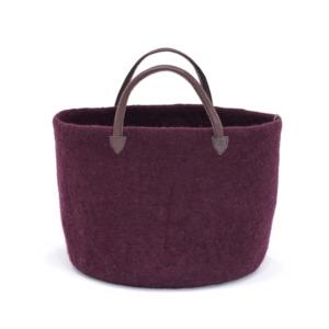 Cabas laine feutrée Muskhane, poignée cuir Taille : diamètre 33/ Hauteur 27cm Coloris aubergine