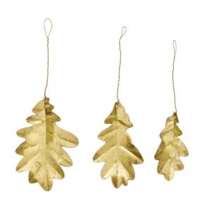 Lot de 3 feuilles dorées à suspendre Bungalow