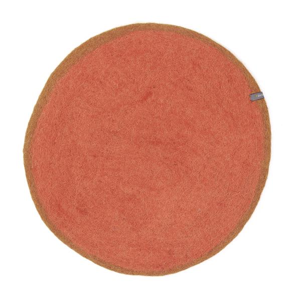 Set de table bicolore en laine feutrée 12cm - Muskhane - Coloris : Corail/ Mangrove