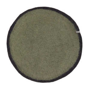 Set de table bicolore en laine feutrée 23cm - Muskhane - Coloris : Minéral/ noir