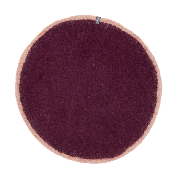 Set de table bicolore en laine feutrée 23cm - Muskhane - Coloris : aubergine/rose quartz