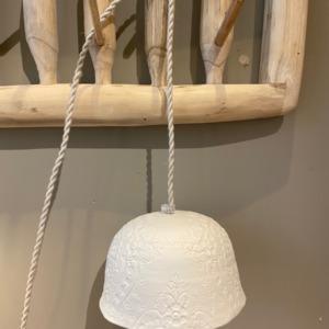 Baladeuse « Albertine » en porcelaine - Myriam Ait Amar - impression dentelle - fil torsadé en lin - petit modèle