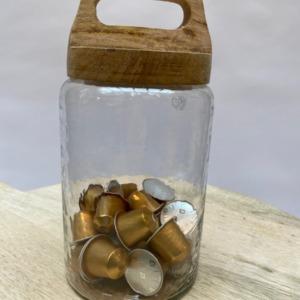 Bocal en verre et bois de manguier - Nkuku - Grand modèle Diamètre 12cm, Hauteur avec le couvercle 25cm