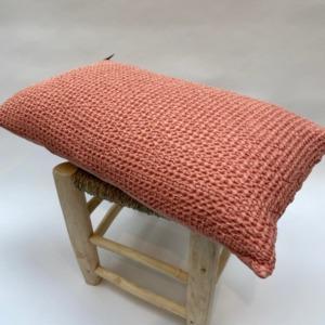 Coussin 100% nid d'abeille stonewashed en coton complet, déhoussable - vivaraise - Coloris pétale 30x50cm