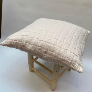 Coussin complet en 100% coton stonewashed structuré, déhoussable - Coussin complet en 100% coton stonewashed structuré, déhoussable - vivaraise - Coloris lin 45x45cm