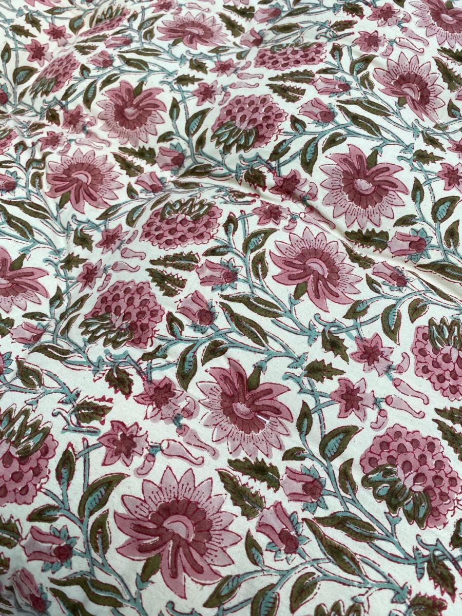 Futon en coton impression peint block - Bungalow - Coloris blush - 50/155cm