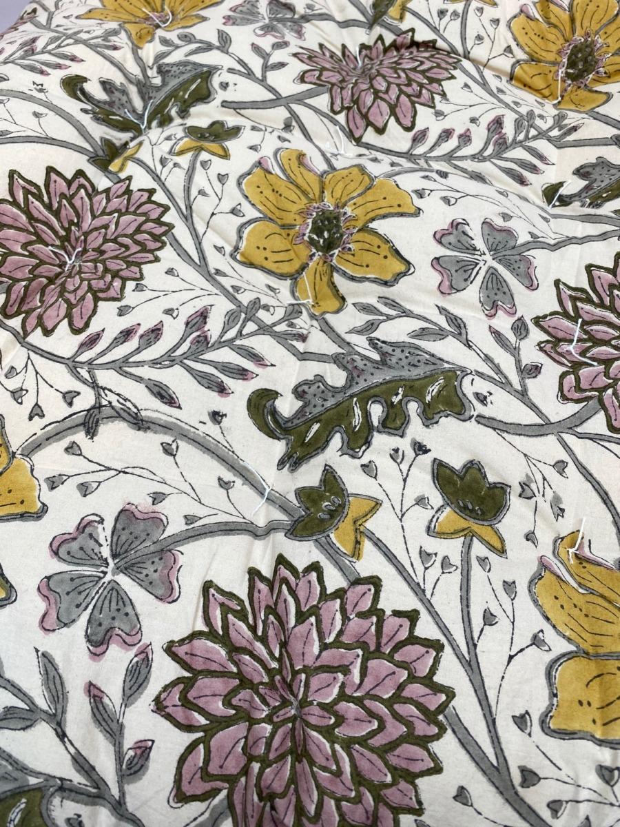 Futon en coton impression peint block - Bungalow - Coloris curry - 70/180cm