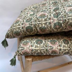 Futon en coton impression peint block - Bungalow - Coloris ivy - 50/155cm