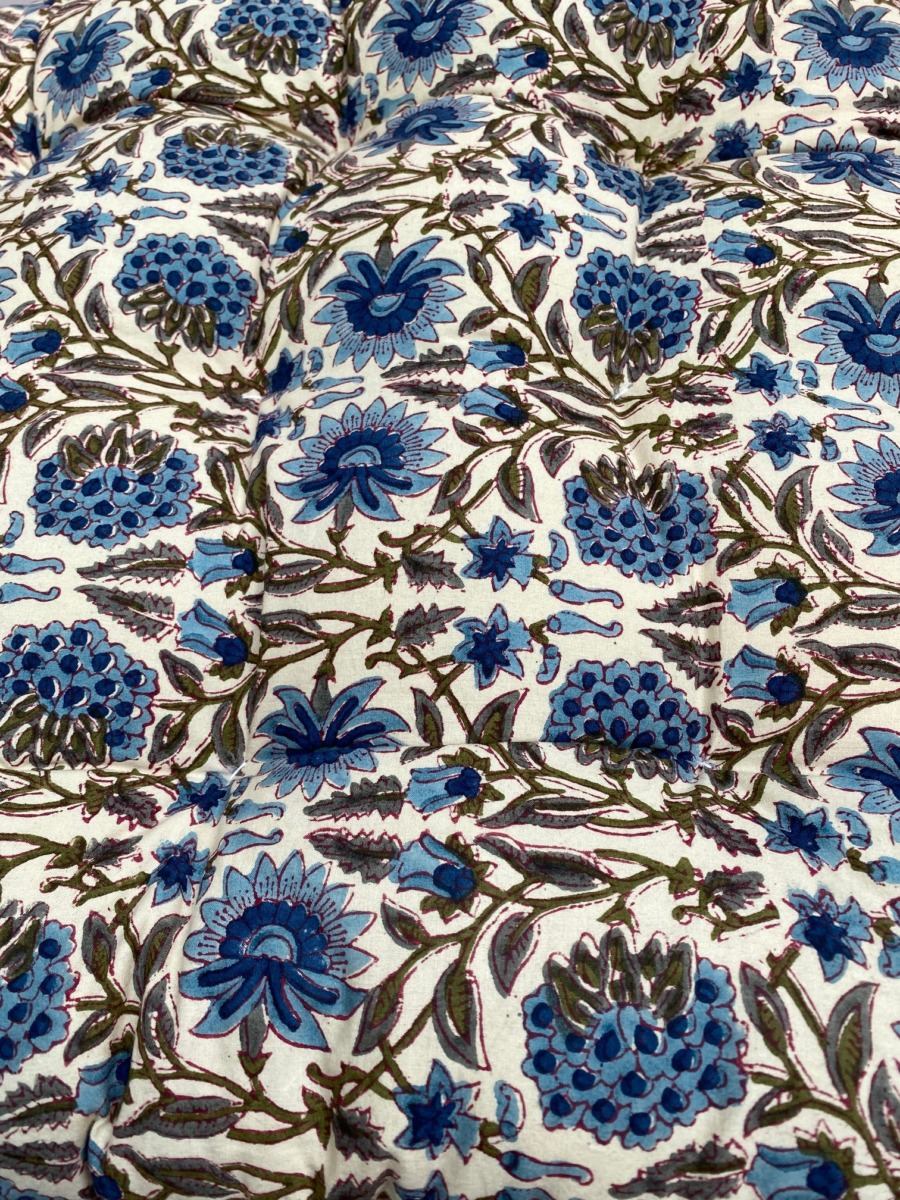 Futon en coton impression peint block - Bungalow - Coloris topaz - 50/155cm