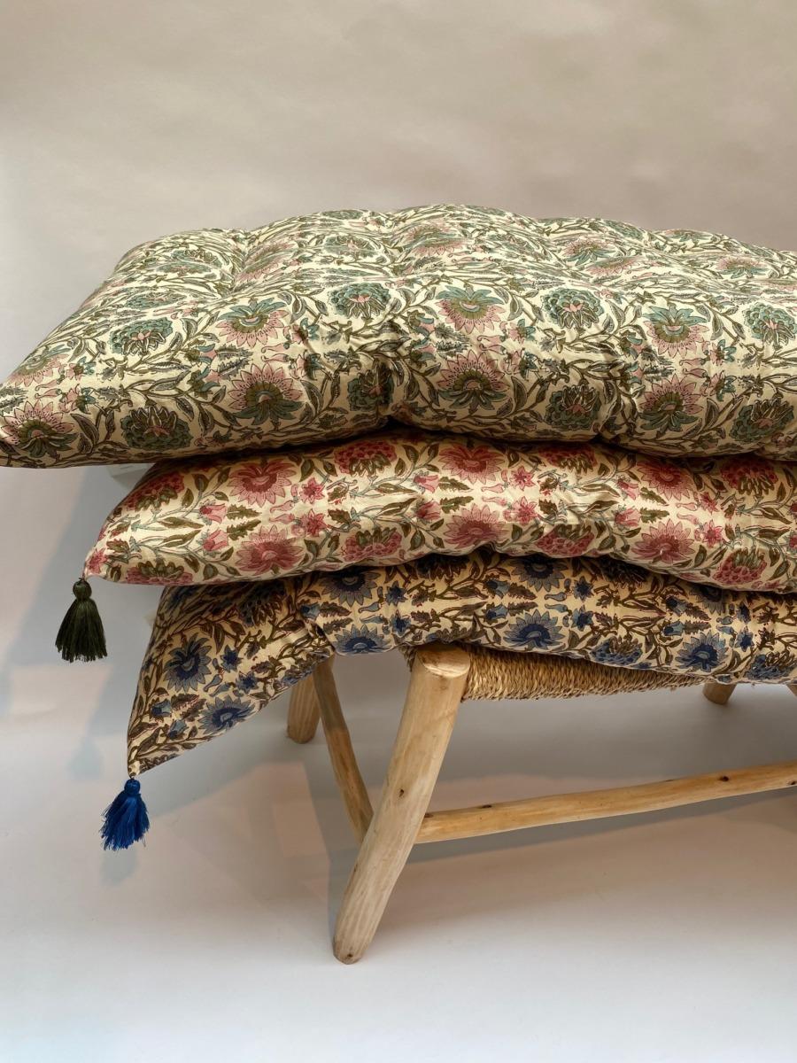 Futon en coton impression peint block - Bungalow - 50/155cm