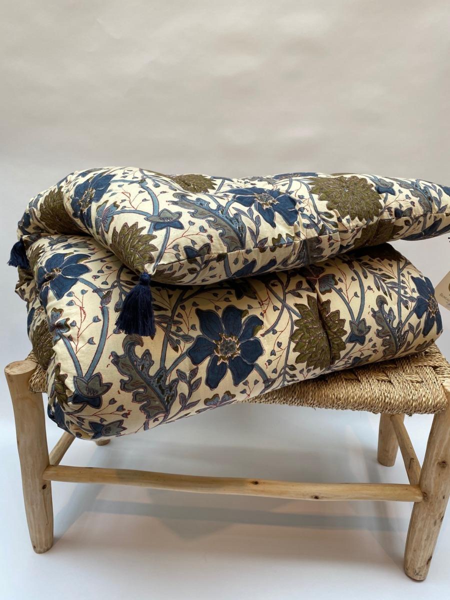 Futon en coton impression peint block - Bungalow - Coloris topaz- 70/180cm