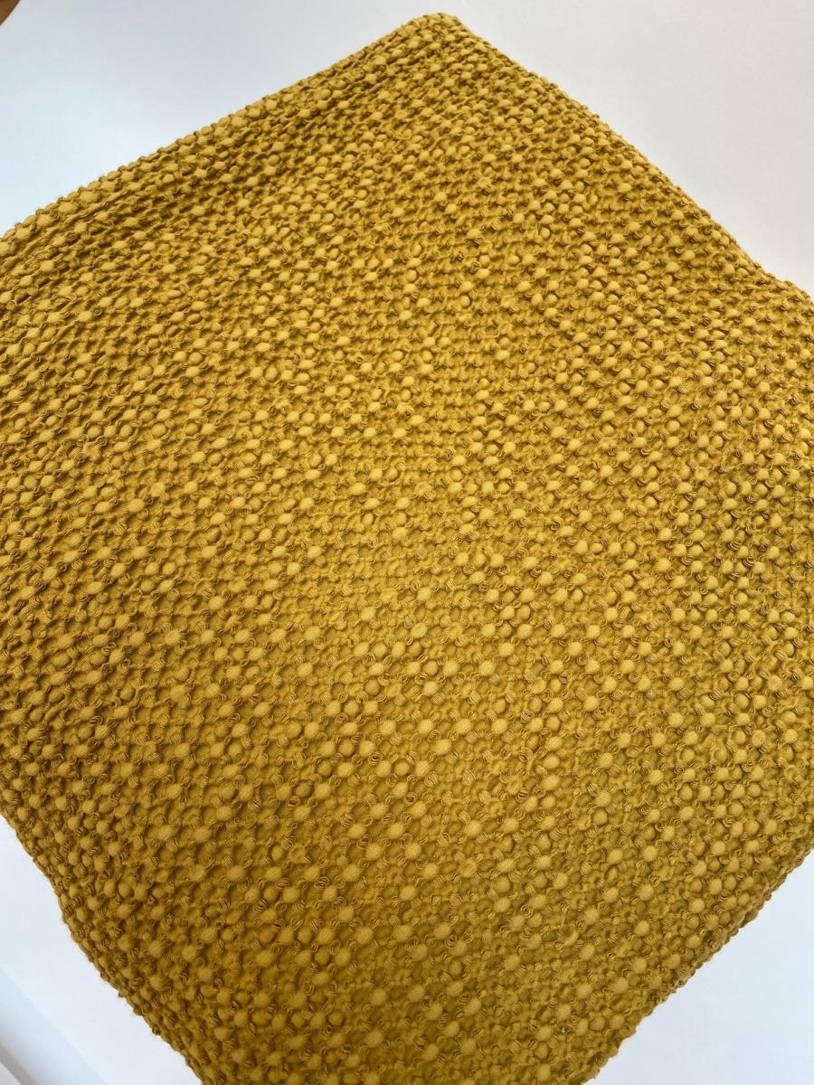 Jeté de lit « Maia» 100% coton nid d'abeille stonewashed - Vivaraise - Coloris bronze- 140200cm