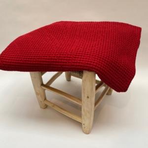 Jeté de lit « Maia» 100% coton nid d'abeille stonewashed - Vivaraise - Coloris rouge - 140/200cm