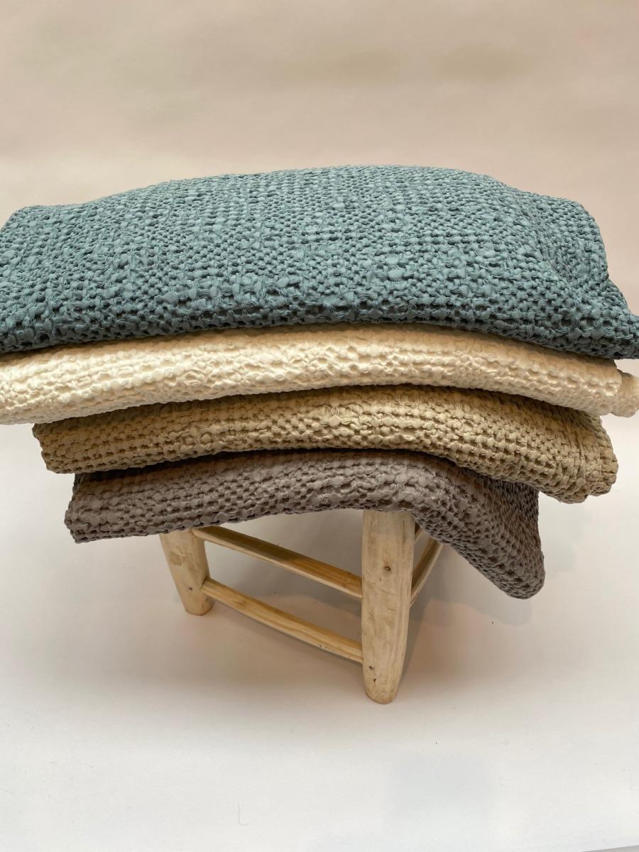 Jeté de lit « tana » 100% coton nid d'abeille stonewashed - Vivaraise - 140/200cm