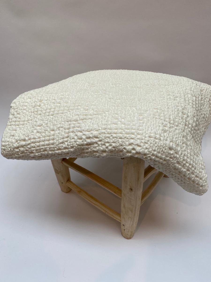 Jeté de lit « tana » 100% coton nid d'abeille stonewashed - Vivaraise - Coloris craie - 140/200cm