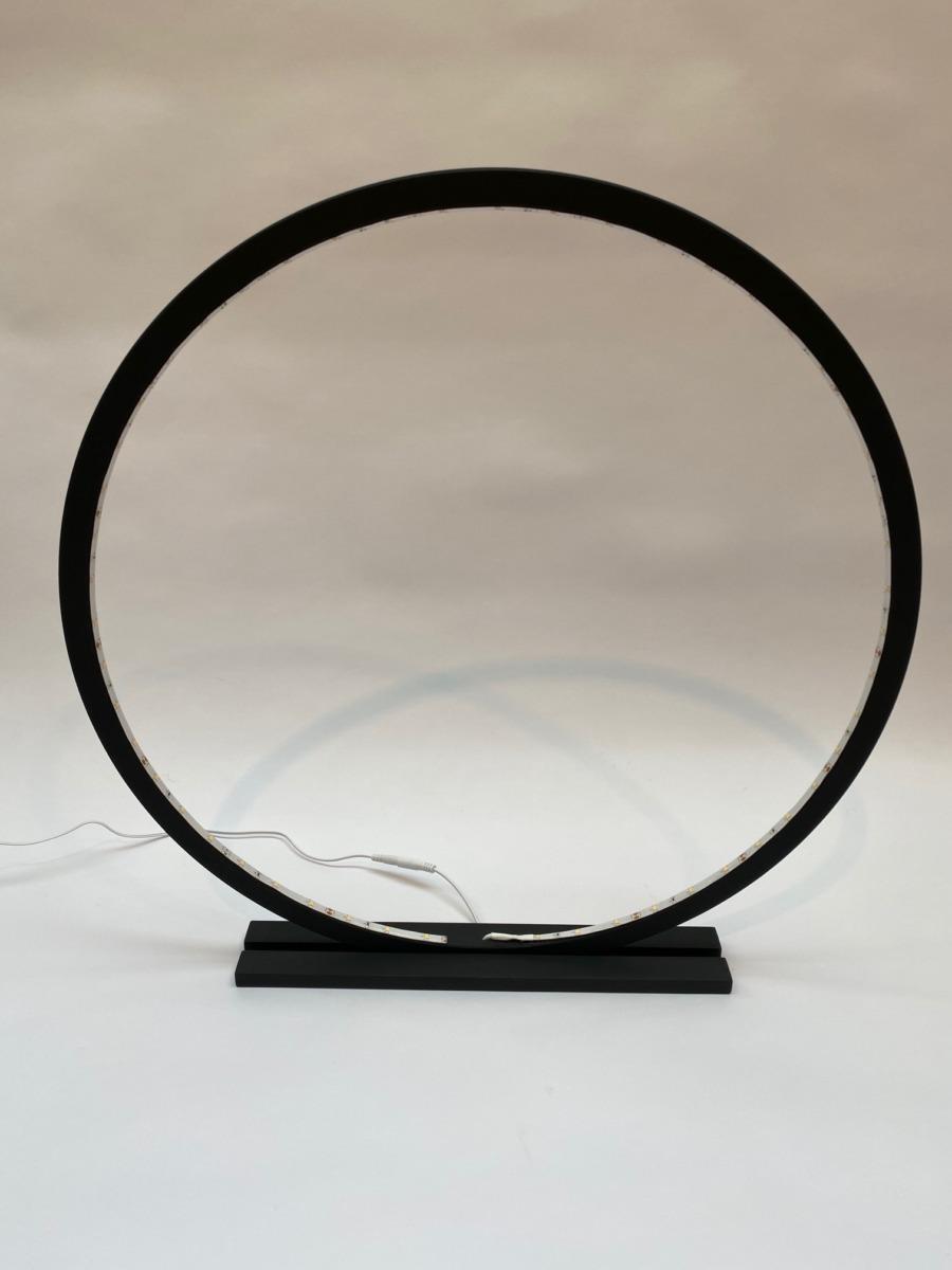 Lampe cercle led en bois naturel 60cm – Coloris Black