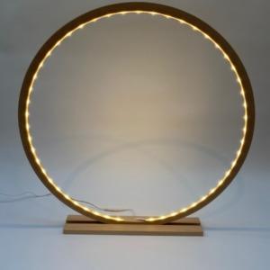 Lampe cercle led en bois naturel 60cm